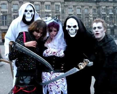 Halloween feestgangers